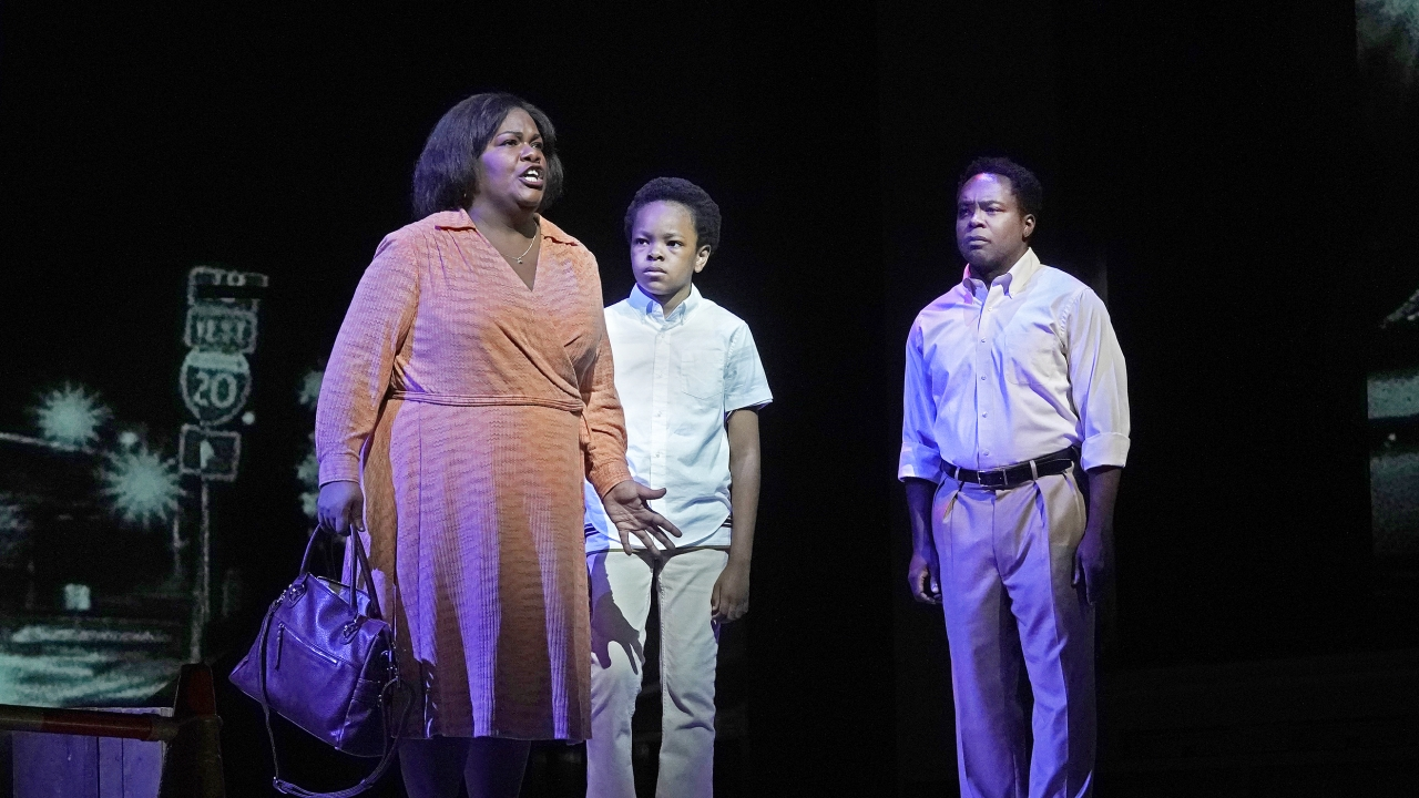 """Latonia Moore, Walter Russell III and Will Liverman during a rehearsal for Terence Blanchard's """"Fire Shut Up in My Bones"""""""