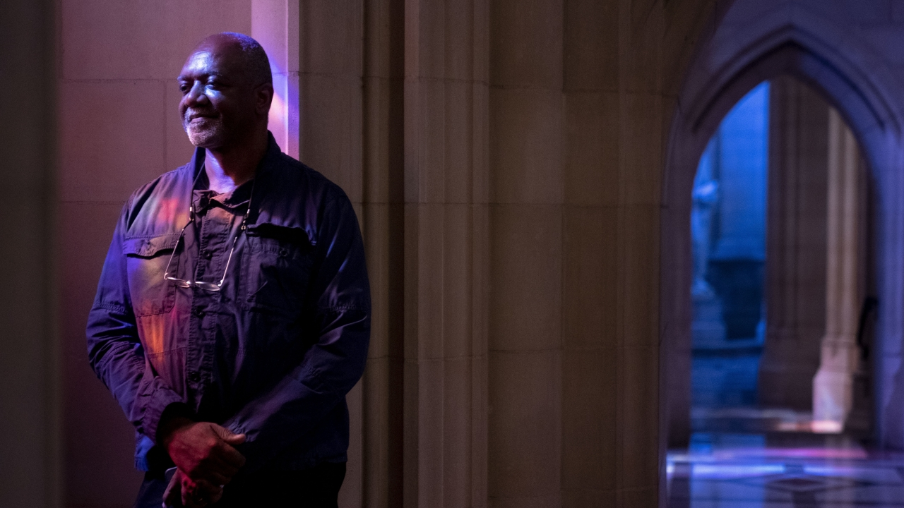 Artist Kerry James Marshall poses for a portrait in the National Cathedral