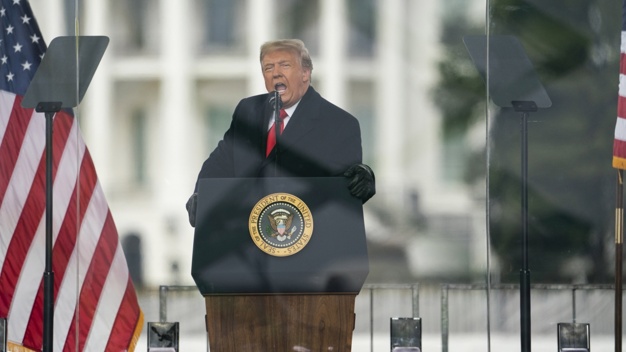 President Donald Trump speaks at a rally